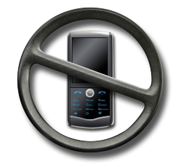 mobile phone covered by steering wheel