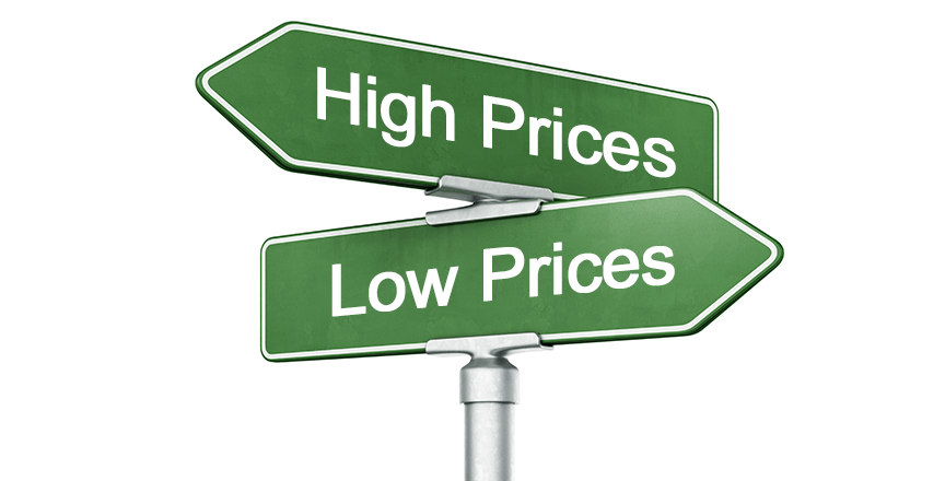 High And Low Prices Sign