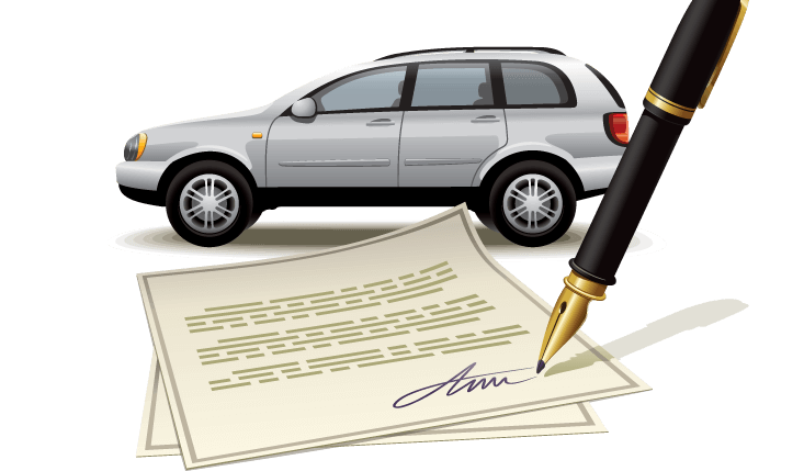 Auto Insurance Contract With Car