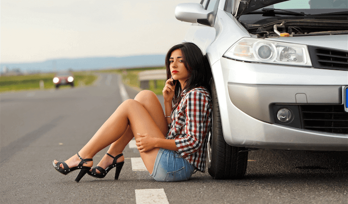 Woman With Broke Down Car