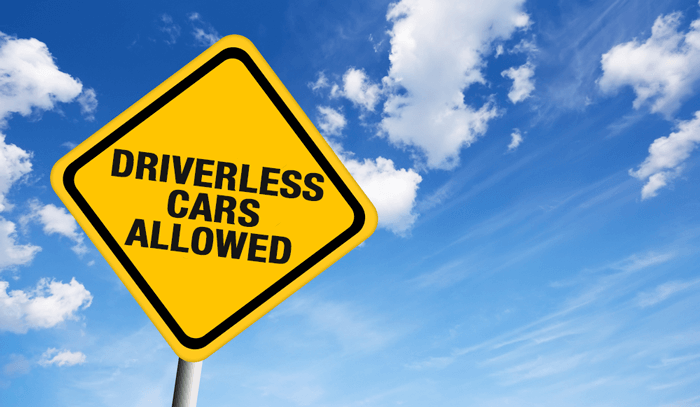 Driverless Cars Allowed Road Sign