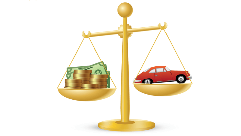 Money Outweighing Car On Scale